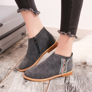 Winter Side Zipper Nubuck Shoes Low Heel Ankle Boots