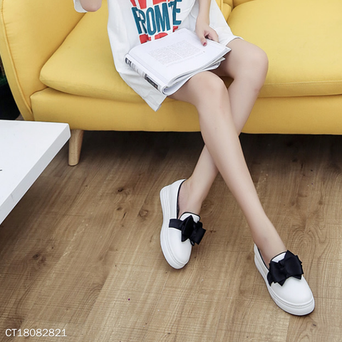 Elegant Bow-Knot Slip-On Casuals Thick Bottom Shoes