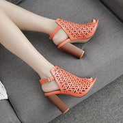 Openwork Wood Thick Heel Sandals