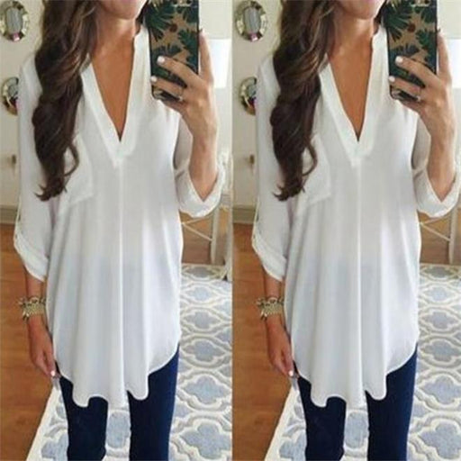 Sexy Deep V Collar Plain Chiffon Shirt