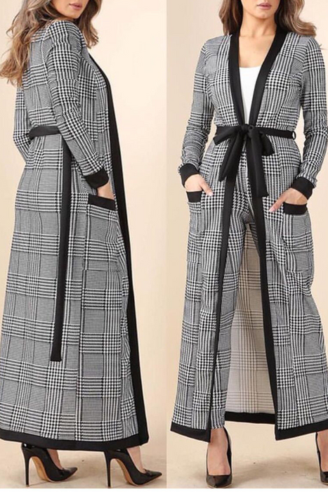 Fashion Check Loose Coat Suit
