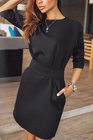 Crew Neck  Cutout  Belt Belt Loops Bust Darts  Plain Shift Dresses