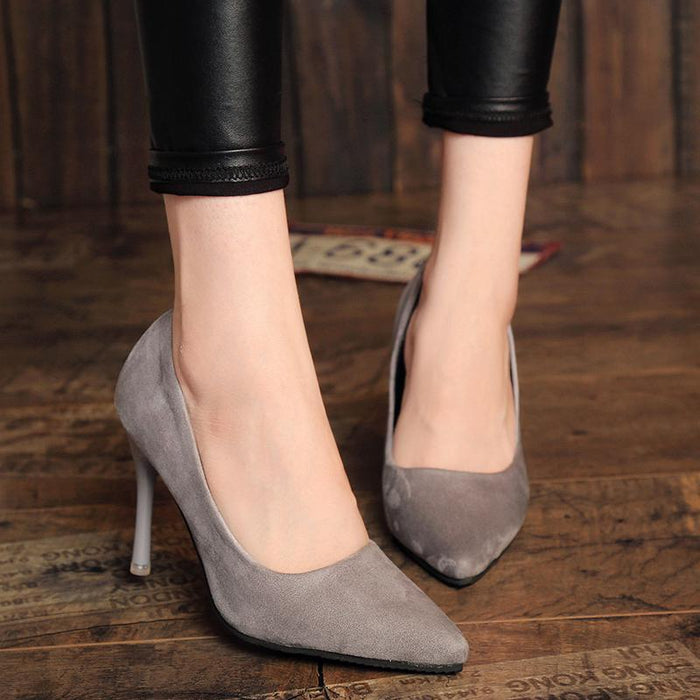 Elegant Plain Point Toe Stiletto Heel PU Pumps
