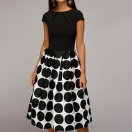 Round Neck Short Sleeve Big Polka Dot Printed Skater Dress