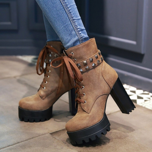 Women Chunky Heel High Platform Lace-Up Rivets Boots