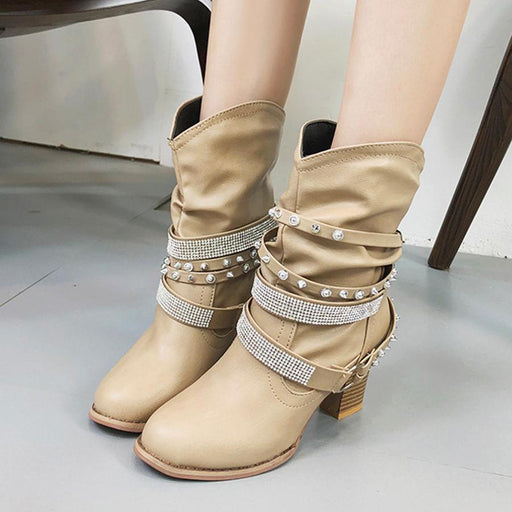 Plain  Chunky  High Heeled  Round Toe  Casual Outdoor  Mid Calf High Heels Boots