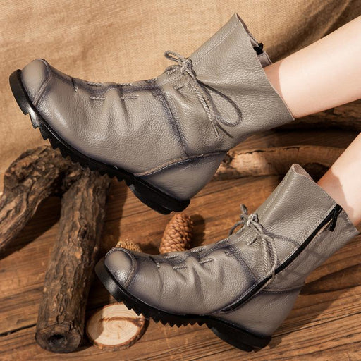 Plain Round Toe  Leather Boots Vintage Style Lace-Up Casual Boots