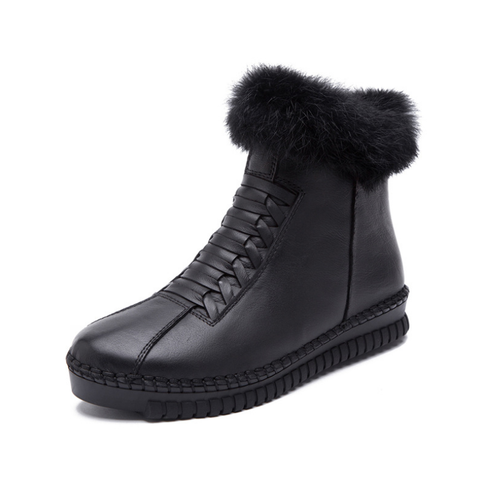 Plain Women Round Toe Fur Leather Side Zipper Casual Boots
