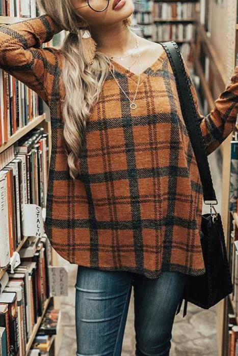 Casual Fashion Loose Plaid V Collar Long Sleeve Top