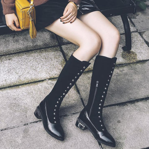Women's Rivets Leather Winter Boots Round Toe Knee High Boots