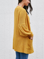 Puff Sleeve Solid Color Cardigan