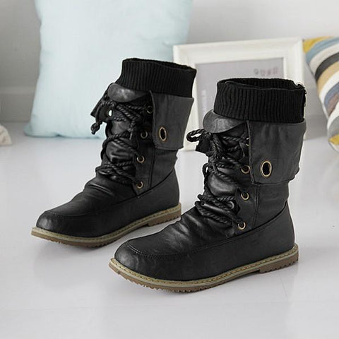 Vintage Style Women Plain Lace-Up Round Toe Flat PU Boots