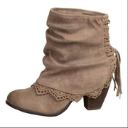 Women Lace-Up Tassels Chunky Heel Boots