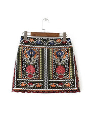 Fashion Ethnic Embroidery Flower   Skirt