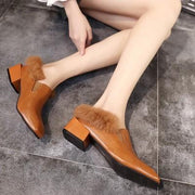 Stylish Women Square Toe Chunky Heel Fur Casuals