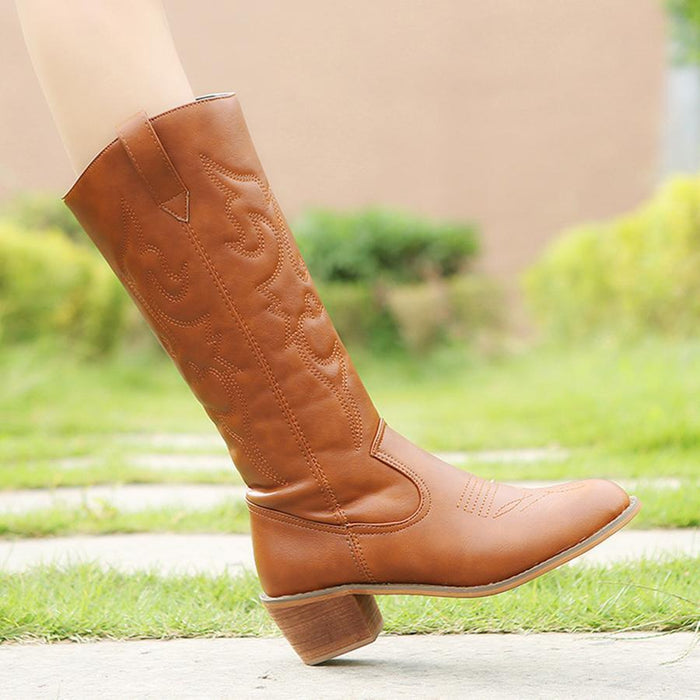 Plain  Round Toe  Casual  Knee High High Heels Boots