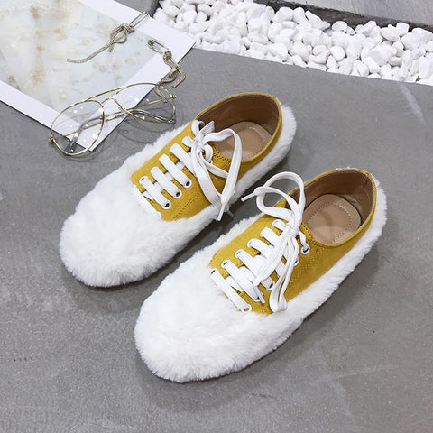 Women Lace-Up Fur Casuals Round Toe Flats & Loafers