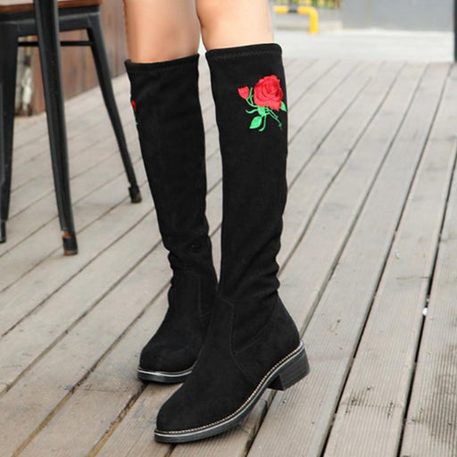 Embroidery Floral Plain  Flat  Round Toe  Casual Outdoor  Knee High Flat Boots