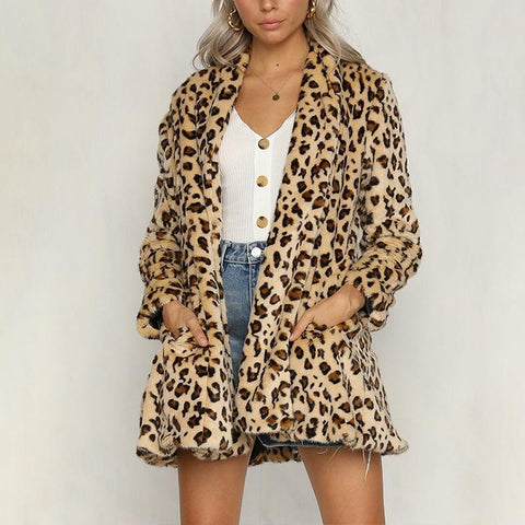 Long Sleeve Leopard Printed Pocket Casual Fashion Cardigans