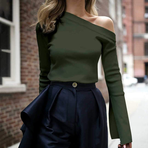 Fashion Pure Color Single Shoulder Long-Sleeved Shirt Top