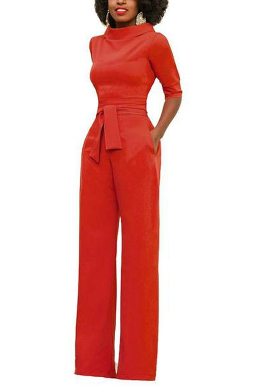 Sexy Round Neck Pure Colour Jumpsuits