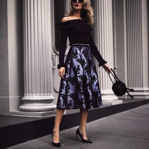 Sexy Off Shoulder Plain Shirt Printed Skirt  Dress Suit
