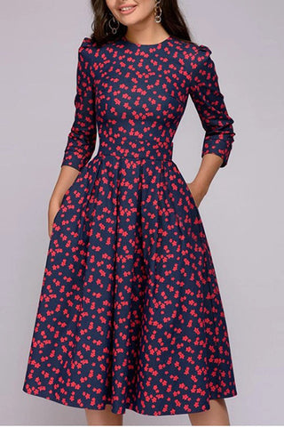 Gracybee Round Neck 3/4 Sleeve Floral Printed Skater Party Dress