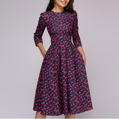 Round Neck 3/4 Sleeve Floral Printed Skater Party Dress
