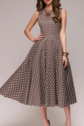 Gracybee Round Neck Polka Dot Sleeveless Skater Dress