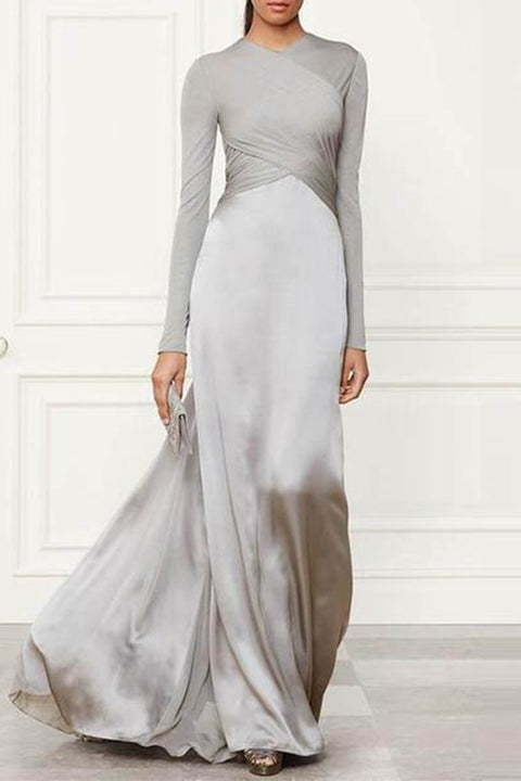 Pure Color Stitching Long Sleeve Maxi Dress