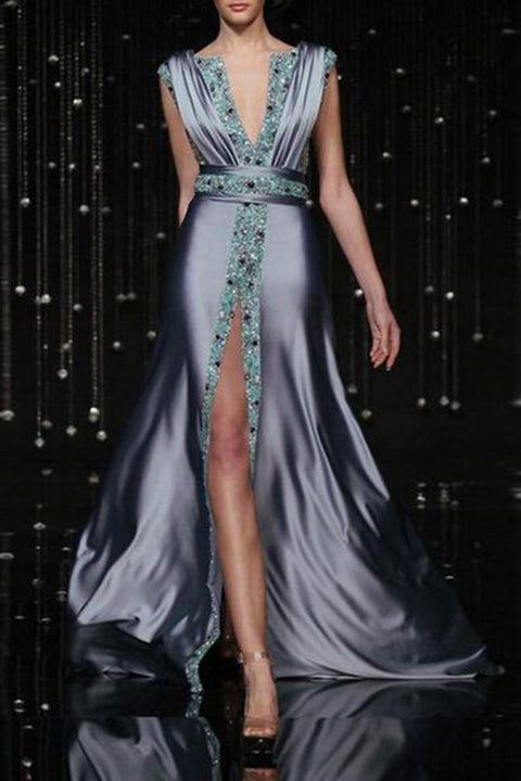 Sexy Fashion Deep V Collar Sleeveless Sequin Fork Evening Dress