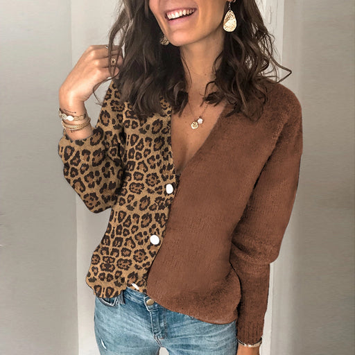 (S-5XL)Fashion V-Collar Splicing Leopard-Print Knitted Cardigan Sweater