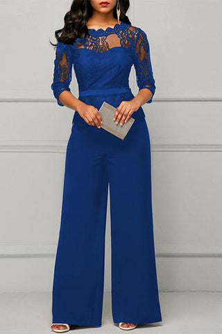 Casual Slim Show Thin   Lace Wide Leg Jumpsuit