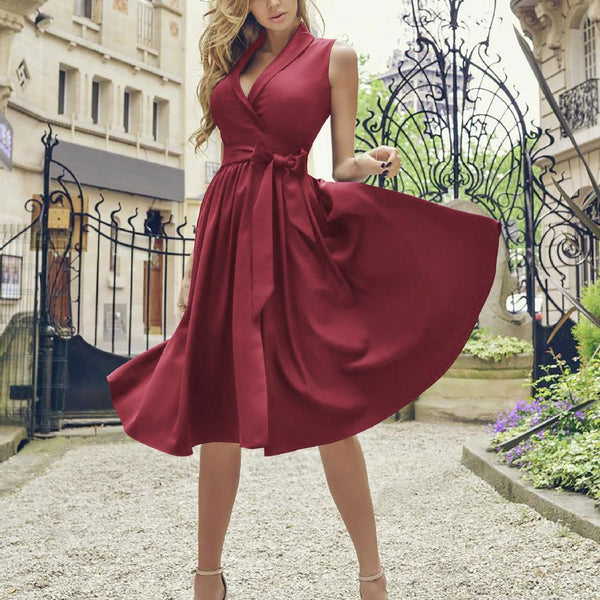 Elegant V Collar Plain Strappy High Waist Skater Dress