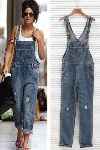 Women Denim Overalls Scratched Washed Ripped Hole Jumpsuits