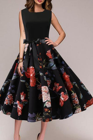 Round Neck  Bowknot Patchwork  Floral Printed Skater Dress