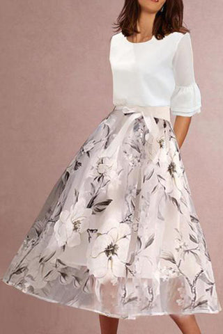 Majorgous Round Neck Floral Printed Bell Sleeve Two-Piece Skater Dress