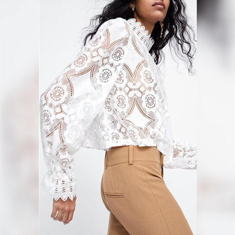 Gracybee Band Collar Decorative Lace Plain Blouses