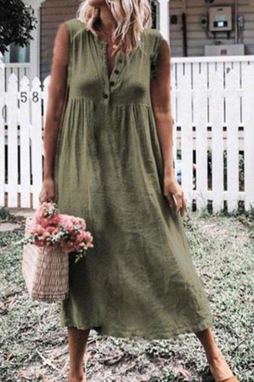 V Neck Single Breasted Plain Sleeveless Loose Casual Maxi Dresses
