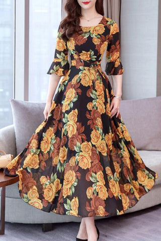 Round Neck  Floral Printed  Bell Sleeve Maxi Dress