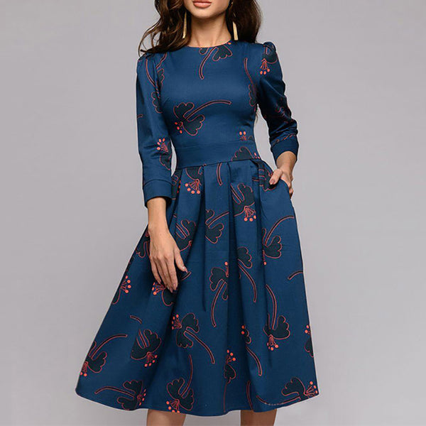 Retro Broken Flower Fold Round Collar Skater Dress