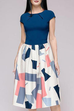 Round Neck  Colouring Geometric Printed Skater Dress