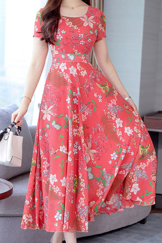 Floral Round Neck Short Sleeve Dress