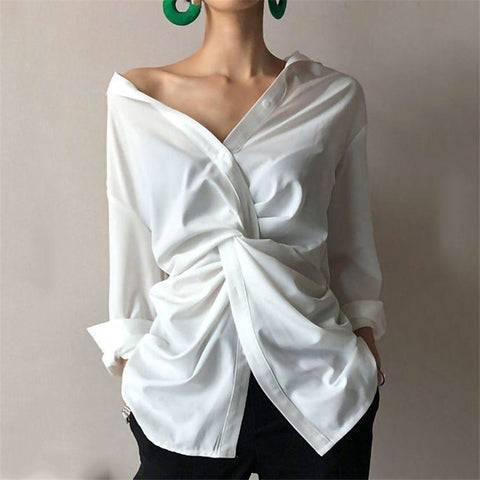 Women's Solid Color Twisted Pleated Shirt