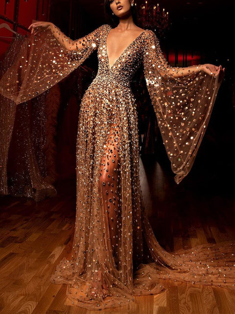 Women's Elegant See-Through Hot Drilling Kimono Sleeve Evening Dress