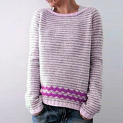 Lazy wind loose striped pullover sweater