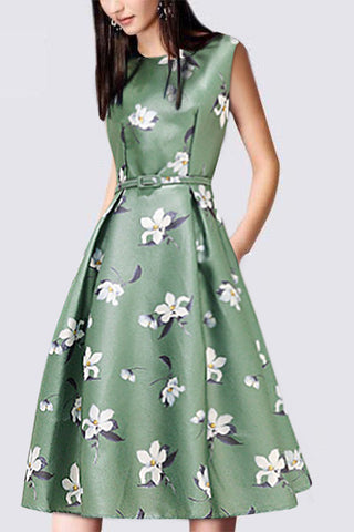 Printed Round Collar Sleeveless Skater Dress