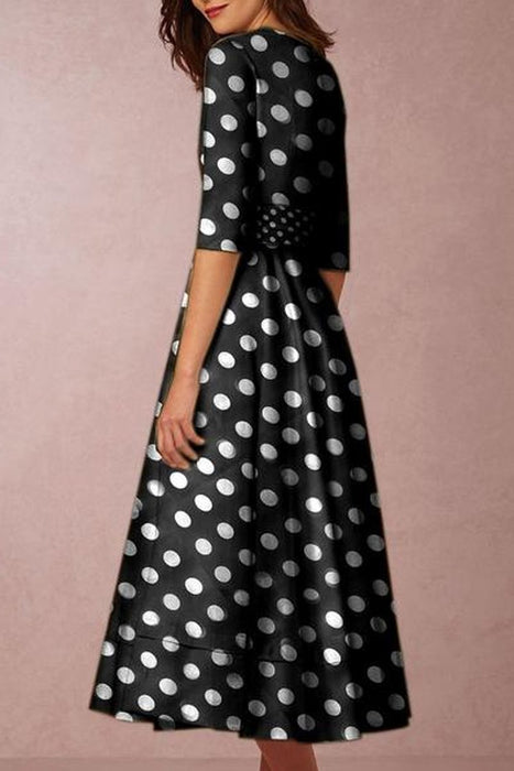 V-Neck  Polka Dot Printed Skater Dress