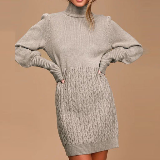 Womens Commuting High Collar Knit Dress