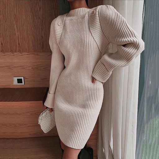 Fashion loose long sleeves knit solid colour dress